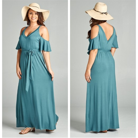 Katilaya Boutique Dresses | Plus Size Open Shoulder Maxi Dress ...